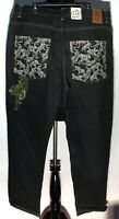 Rare Johnny Blaze Wu-Tang Clan Method Man Embroidered Tiger Size 42 Black Jeans