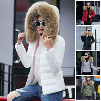 Winter Women's Down Cotton Parka Short Fur Collar Hooded Coat Jackets Plus Size
