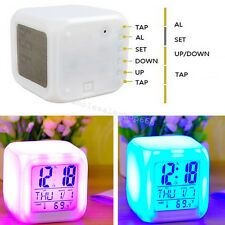 7Colors Light Clock LED Digital Alarm Clock Glowing Cube Backlight Calendar Gift