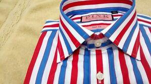 NWT Thomas Pink men's size 15.5 long sleeve button down shirt bold striped,