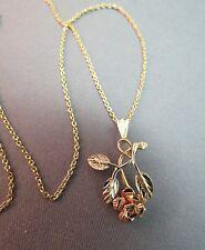"14k Yellow Rose Gold Michael Anthony MA Pendant Flower Leaf Designer 19"" Chain"
