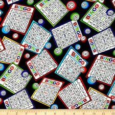 Bingo Tickets Fabric Fat Quarter Cotton Craft Quilting Bingo Cards
