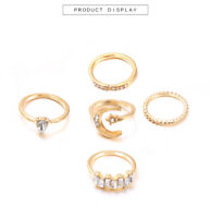 New Bohemian fashion moon drop ring set of 5 pieces for women