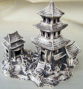 Deko Aquarium China Höhle Teehaus Fische Keramik Dekoration Tempel Terrarium Neu