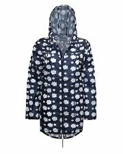 WATERPROOF WINDPROOF MAC Navy blue ladies hooded rain coat daisy floral jacket
