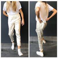 Lizzie Collins cream & gold floral elastic-waist pants, glam lounge-wear, Size M