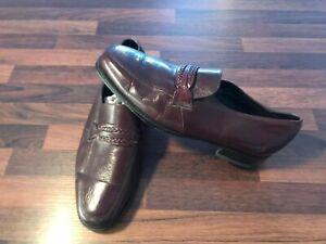 Mens Vintage Florsheim Burgundy Leather Moccasin Loafers Shoes US 8.5 E / UK 7.5