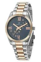 Daniel Klein 32mm Analog Womens Roman Numerals Rose Gold / Silver Tone SS Watch