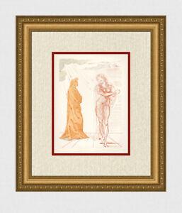 Super 1960 SALVADOR DALI Divine Comedy Woodcut VIRGIL COMFORTS DANTE Framed COA