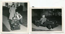 Xmas 1943 Original Photos: Little Boy In Toy Military Pedal Car