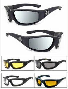 1 or 3 Pairs Chopper Padded Wind Resistant Sunglasses Motorcycle Riding Glasses
