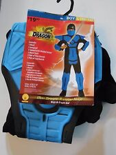 Boy 10-12 L Blue Dragon Warrior Ninja Elite Force Halloween Costume Decoration