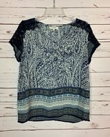 Umgee Boutique Womens L Large Navy Blue White Lace Cute Short Sleeve Top Blouse