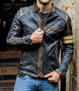 Men's Vintage Biker Black Motorcycle Distressed Cafe Racer Leather Jacket