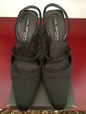 Vintage VIA SPIGA evening Shoe Silk and beads Black Sz 8 Made in Italy Arch Heel