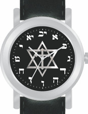 "Hebrew Numbers and ""Messianic Star of David"" Watch Has Black Leather Strap"