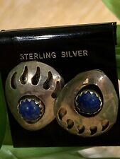Lapis Bear Claw Earrings - Vintage Sterling Silver Native American Blue