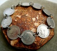 Antique British Threepence Coin Charm Bracelet, 1908 - 1940, Estate Lot