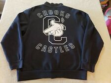 Crooks & Castles Mens Varsity Sweater Black Snaps Letterman Jacket LARGE