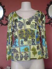 Misses Forbidden Size L Multi color Floral Embellished 3/4 Sleeve Vneck Shirt