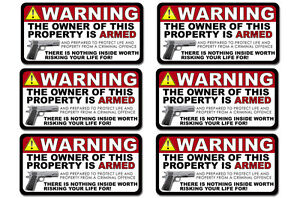 GUN Owner Home Security  Warning 2nd Amendment Decal Window Sticker 6in - 6 pack