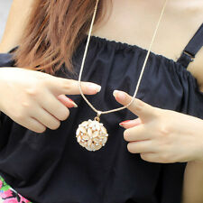 Women Fashion Alloy Flash 3D Opal Rhinestone Flowers Long Sweater Chain Necklace