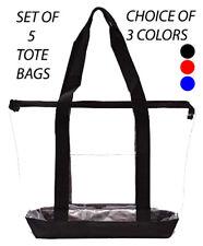 5 Clear Tote Bag Plastic Transparent Purse Handbag Zipper Security Event Stadium