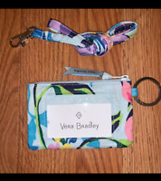 Vera Bradley Marion Floral Zip ID Money Coin Case & Matching Lanyard with Tags