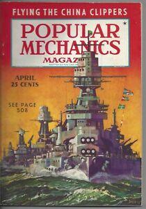 Magazine Popular Mechanics April 1938 China Clippers Warships