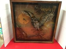Vintage Owls Shadowbox Wall Clock by Elgin Wood Frame 1960's & 1970s MCM