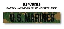 US MARINES Branch Name Tape (Woodland) For Sew-On