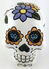 Collectible WHITE SUGAR SKULL Handpainted Resin Statue SKULLS DAY OF THE DEAD