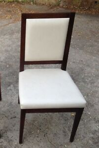 Restaurant Chairs - 10 x As New Timber & White Vinyl with Motley Print RRP$1,750