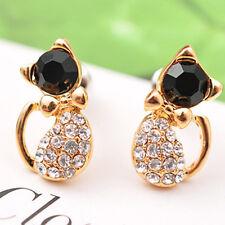 Fashion Elegant Women's Crystal Rhinestone Bowknot Cat Ear Stud Earrings  Gift