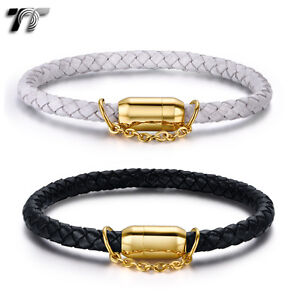 TT Leather With Gold S.Steel Magnet Buckle Bracelet Same Chain (BR199) NEW