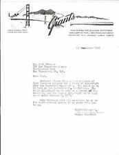 Copy 1968 San Francisco Giants Ltr Announcing Signing Outfielder Gary Matthews