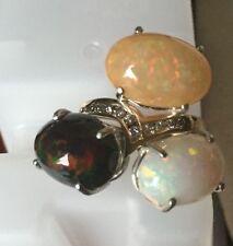New Huge 3 stone 14 ct Ethiopian black welo, rainbow opals Diamond 14k gold ring