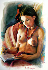 Rafael Plessas, painting, watercolor, Nude girl reading, 20x30cm signed original