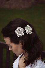 2x clips cheveux fleur strass coiffure 1920 Vintage Bridal tambour déco R19