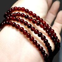 Garnet Polished Red 4 mm Gemstone Crystals Beaded Elastic Stretch Power Bracelet