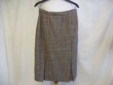"""Ladies Skirt Waist 28"""" Length 28"""" brown wool blend wide pleats zip & button 1288"""