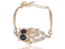 Rhinestone Accented Golden Toned Detail White Enamel Leaves Black Bead Bracelet