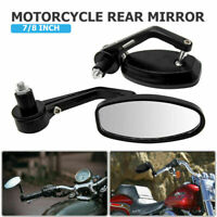 """New 7/8"""" Aluminum Rear View Side Mirror Handle Bar End Oval Black For Motorcycle"""