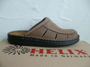 Helix Clogs Mules Sabot Braun Leather Footbed New