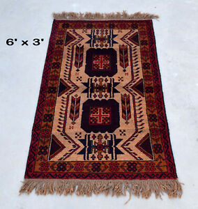 6 x 3 Hand Knotted Rug Handmade Baloch Handwoven Geometric Afghan Vintage Tribal