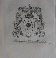 1756 Antiguo Estampado Familia Crest Abrigo De Brazos Boscawen Viscount