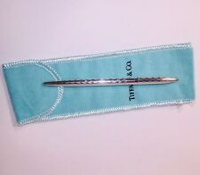 Tiffany & Co. Silver Plated 925 Small Purse Pen Diamond Cut X Cross Exlnt B22
