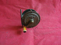 "A SCARCE VINTAGE  2 1/4"" REUBEN HEATON PICTURE DECORATIVE BRASS FISHING REEL"