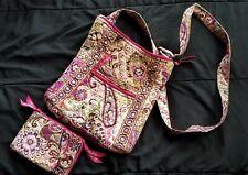 Vera Bradley Large Pink Floral Crossbody Bag Purse w Matching Wallet