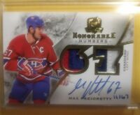 2015 Cup Honorable Numbers Max Pacioretty Autograph Patch /67 Montreal Vegas